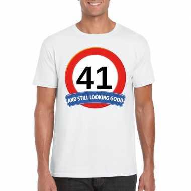Verkeersbord 41 jaar t-shirt wit heren