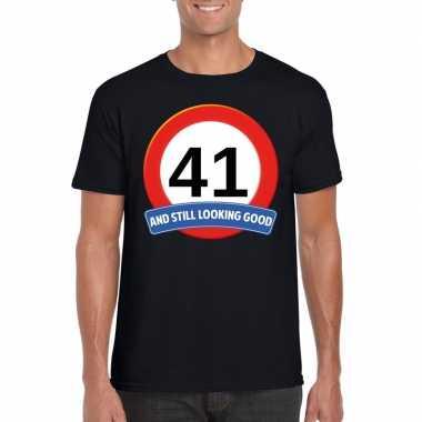 Verkeersbord 41 jaar t-shirt zwart heren