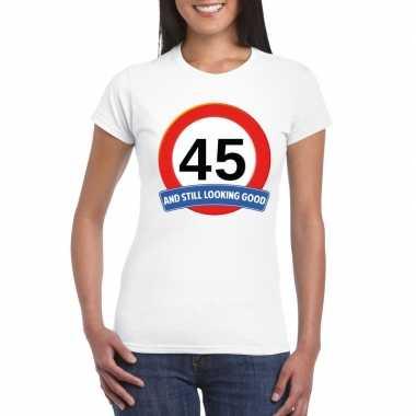 Verkeersbord 45 jaar t-shirt wit dames