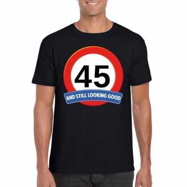 Verkeersbord 45 jaar t-shirt zwart heren