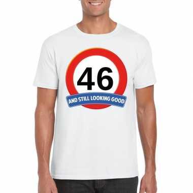 Verkeersbord 46 jaar t-shirt wit heren