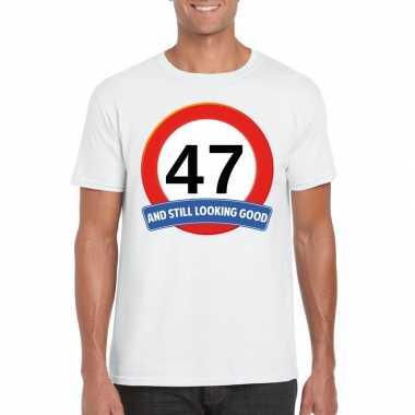 Verkeersbord 47 jaar t-shirt wit heren