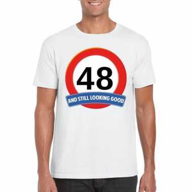 Verkeersbord 48 jaar t-shirt wit heren