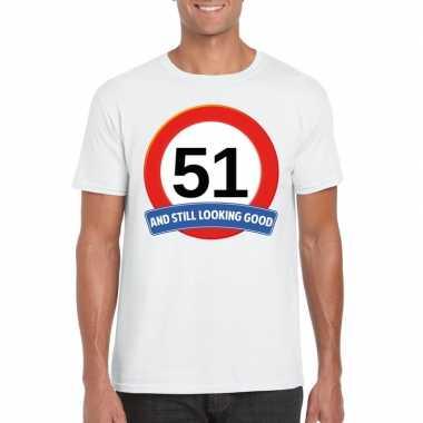 Verkeersbord 51 jaar t-shirt wit heren