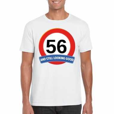 Verkeersbord 56 jaar t-shirt wit heren