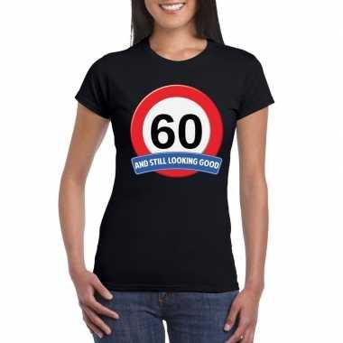 Verkeersbord 60 jaar t-shirt zwart dames