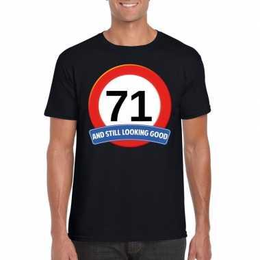 Verkeersbord 71 jaar t-shirt zwart heren