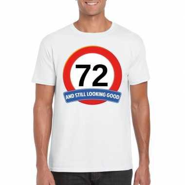 Verkeersbord 72 jaar t-shirt wit heren