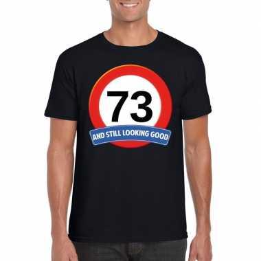 Verkeersbord 73 jaar t-shirt zwart heren