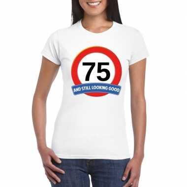 Verkeersbord 75 jaar t-shirt wit dames