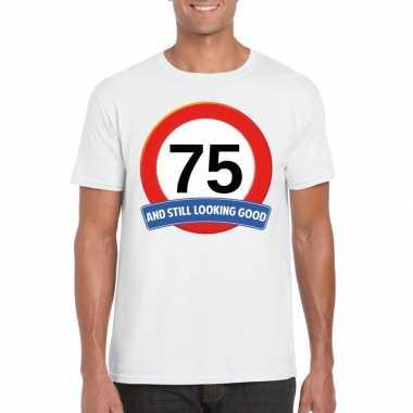 Verkeersbord 75 jaar t-shirt wit volwassenen
