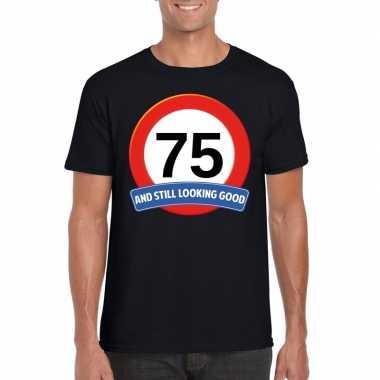 Verkeersbord 75 jaar t-shirt zwart volwassenen