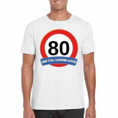 Verkeersbord 80 jaar t-shirt wit volwassenen