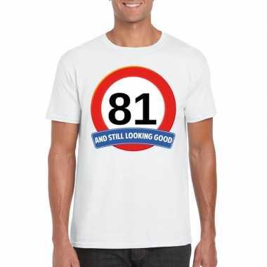 Verkeersbord 81 jaar t-shirt wit heren