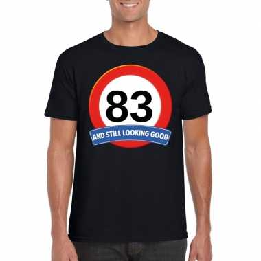 Verkeersbord 83 jaar t-shirt zwart heren