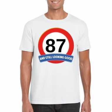 Verkeersbord 87 jaar t-shirt wit heren