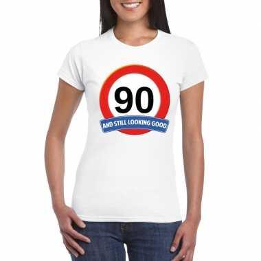 Verkeersbord 90 jaar t-shirt wit dames
