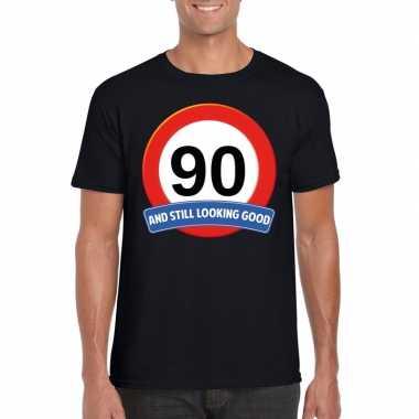 Verkeersbord 90 jaar t-shirt zwart volwassenen