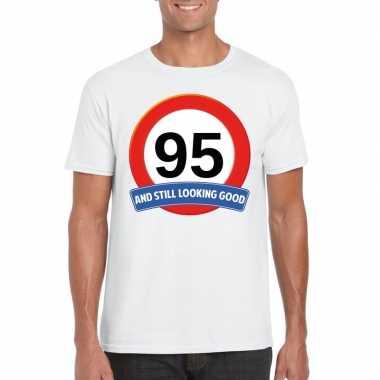Verkeersbord 95 jaar t-shirt wit heren
