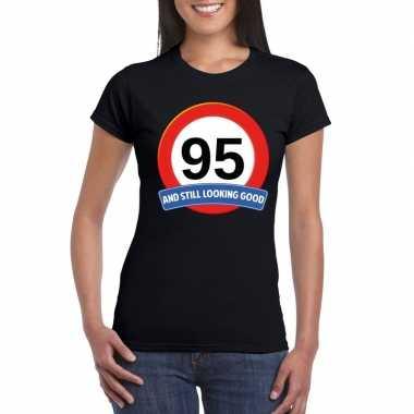 Verkeersbord 95 jaar t-shirt zwart dames