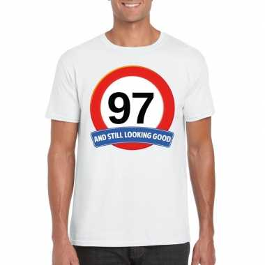 Verkeersbord 97 jaar t-shirt wit heren