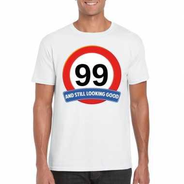 Verkeersbord 99 jaar t-shirt wit heren