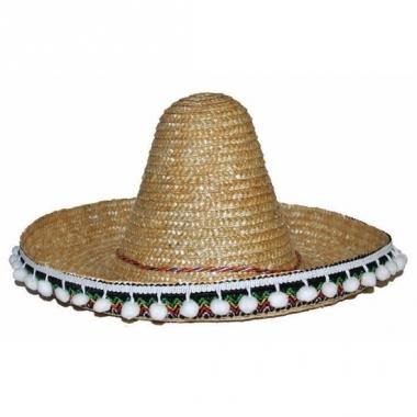 Verkleed accessoire beige sombrero kids 25 cm