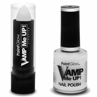 Verkleed accessoires matte witte heksen schmink nagellak/lipstick