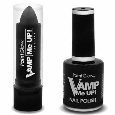 Verkleed accessoires matte zwarte vampiers schmink nagellak/lipstick