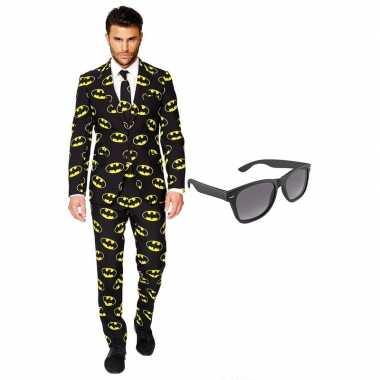 Verkleed batman net heren kostuum maat 54 (xxl) met gratis zonnebril
