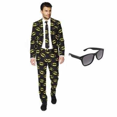 Verkleed batman print heren kostuum maat 52 (xl) met gratis zonnebril
