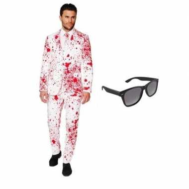 Verkleed bloed print heren kostuum maat 50 (l) met gratis zonnebril