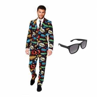 Verkleed comic print heren kostuum maat 46 (s) met gratis zonnebril