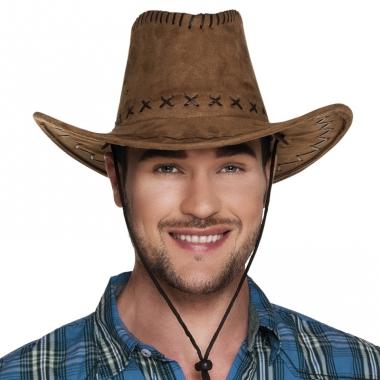 Verkleed cowboyhoeden elroy bruin met lederlook