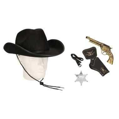 Verkleed cowboys accessoires zwart voor mannen