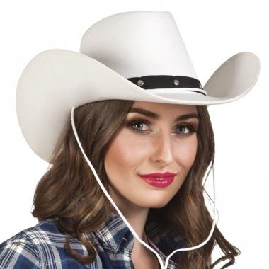 Verkleed dames cowboyhoeden wichita wit vilt