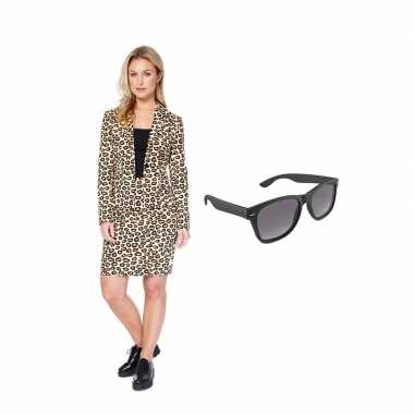Verkleed dames mantelpak luipaard print maat 38 (m) met gratis zonneb