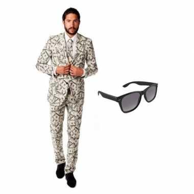 Verkleed dollar print heren kostuum maat 50 (l) met gratis zonnebril