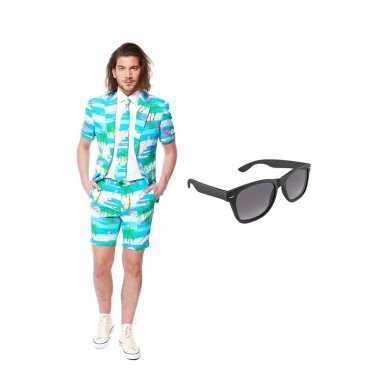 Verkleed flamingo zomer net heren kostuum maat 50 (l) met gratis zonn