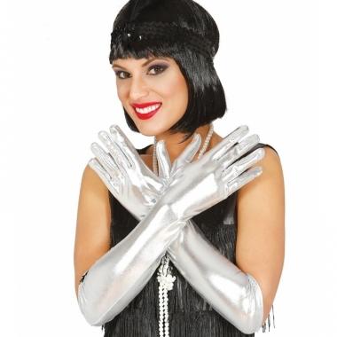 Verkleed gala handschoenen zilver
