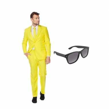 Verkleed geel net heren kostuum maat 52 (xl) met gratis zonnebril