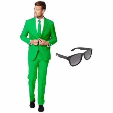 Verkleed groen net heren kostuum maat 54 (xxl) met gratis zonnebril