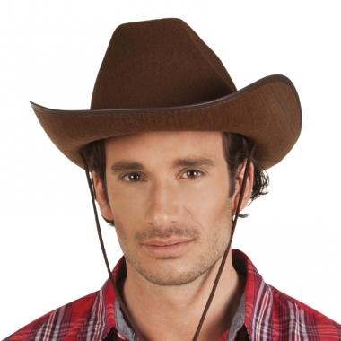 Verkleed grote cowboyhoeden rodeo bruin met lederlook