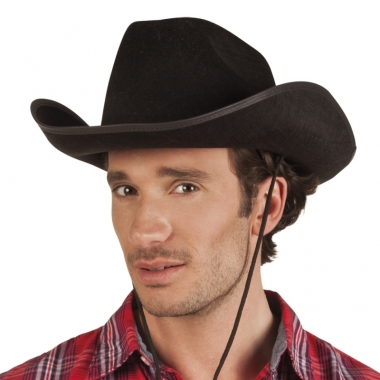 Verkleed grote cowboyhoeden rodeo zwart met lederlook