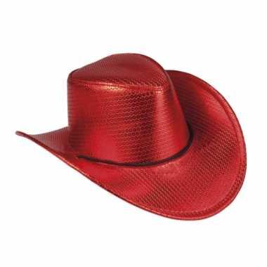 Verkleed grote cowboyhoeden rood met pailletten