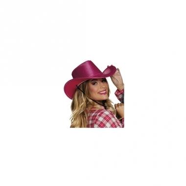 Verkleed grote cowboyhoeden roze met pailletten