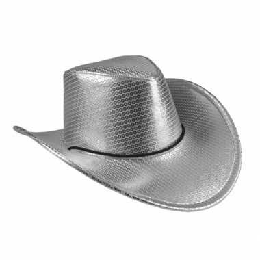 Verkleed grote cowboyhoeden zilver met pailletten