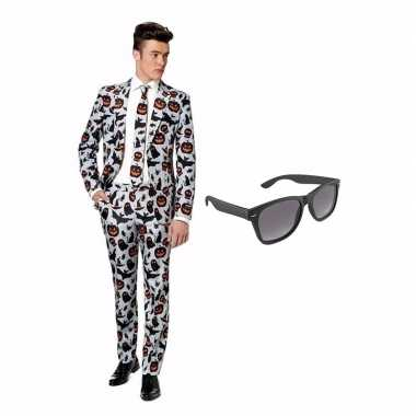 Verkleed halloween print net heren kostuum maat 50 (l) met gratis zon