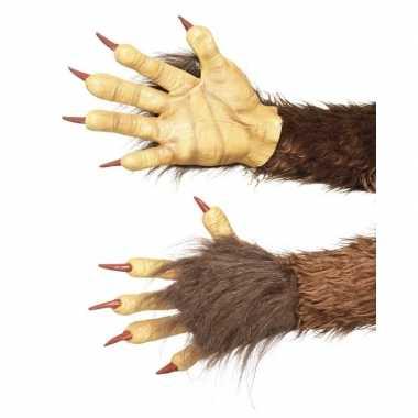 Verkleed handschoenen weerwolf bruin
