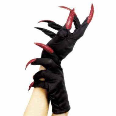 Verkleed handschoenen zwart met rode nagels
